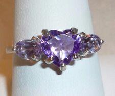 Heart Purple Amethyst & Pink Amethyst 925 Silver Ring Size 9 w Gift Box Sweet