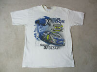 Jimmie Johnson Shirt Adult Medium White Blue Double Sided Nascar Racing Mens *