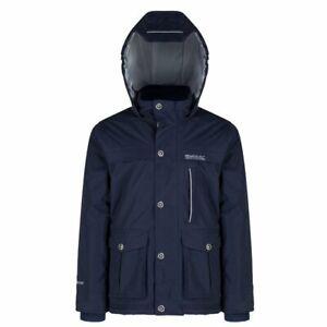 Regatta Sheriff Kids Boys Fleece Lined Hooded Waterproof Jacket Rain Coat RRP£50