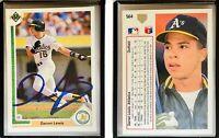 Darren Lewis Signed 1991 Upper Deck #564 Card Oakland Athletics Auto Autograph
