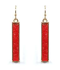 Druzy Bar Earrings Red Druzy Dangle Pierced Wire Earrings