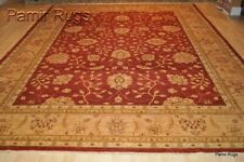 9x12 ft. rug TOP quality Handmade RED GOLD, FLORAL natural wool natural dyes