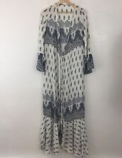 Womens Long Maxi Robe Coverup Size Small White with Blue Paisley Tie Front Boho
