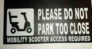 MOBILITY SCOOTER ACCESS REQUIRED PARKING DISABLED CAR GRAPHIC STICKER WHITE