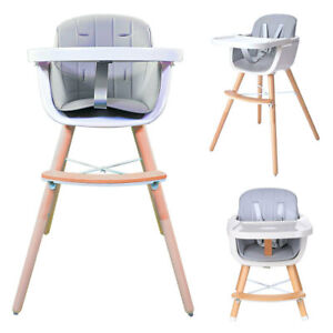 Callowess Elata Convertible 3-in-1 Adjustable Wooden Highchair with Tray – Grey