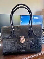 Osprey Designer Bag - Black Crocodile-effect Leather Office Bag - Excellent