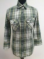 EE177 WOMANS SUPERDRY GREEN YELLOW WHITE  CHECK 3/4 SLEEVE COLLAR SHIRT UK S