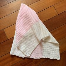 """Handmade Knitted Pink & White Colour Block Baby Blanket  24"""" x 34"""""""