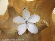 35mm Hawaiian 2-T Sterling Silver 14k Yellow Gold Matted Plumeria CZ Pendant #1