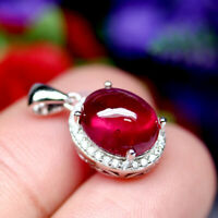 NATURAL 9 X 10 mm. OVAL CABOCHON RED RUBY & WHITE CZ PENDANT 925 SILVER