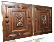 Pair gothic flower rosace panel Antique french carved wood architectural salvage