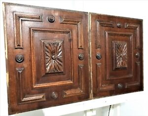 Pair flower rosette wood carving panel Antique french architectural salvage