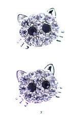 Teinte argenté cristal clair kitty chat chaton boucles d'oreilles créoles