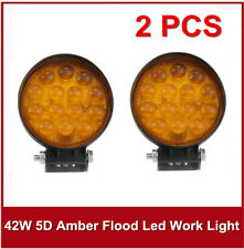 """2X 42W 5D 4"""" Amber Round LED Flood Work Light Fog Lamp Jeep Offroad Boat Yellow"""