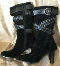 Sonoma~Sasha~Black Suede Calf High Boots~Braided Straps~Side Zip~Wmns 7 1/2 M