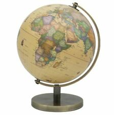 CONTEMPORARY VINTAGE STYLE LARGE GLOBE ON METAL BASE ATLAS TABLE DESK ORNAMENT