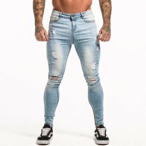 GINGTTO Men Denim Super Stretch Skinny Slim Fit Jeans Washed Trousers Distressed