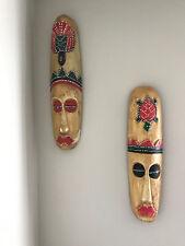 """TWO TIKI MASK TROPICAL ISLAND WOOD HAWAIIAN POLYNESIAN WALL ART BAR Tribal 19"""""""