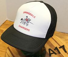 VINTAGE SPRINGDALE CHARGERS HIGH SCHOOL WASHINGTON HAT BLACK/WHITE SNAPBACK A17