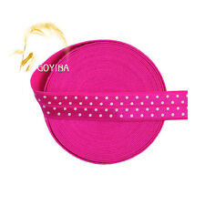 "5 Yard 5/8"" Polka Dot Print Neon Rose Fold Over Elastic Spandex Band Sewing Trim"