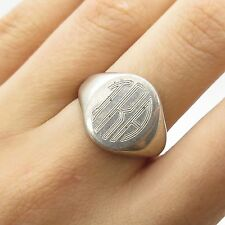 Signed 925 Sterling Silver Engraved Wide Signet Ring Size 7