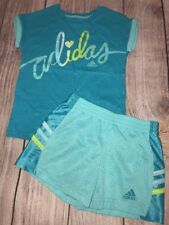 Adidas Girls 4T Athletic Shorts Shirt Outfit Blue Mint