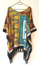Damen Tunika XXL Shirt 62 64 66 68 70 Afrika Maske auf Schwarz Grün Gelb (GW214)