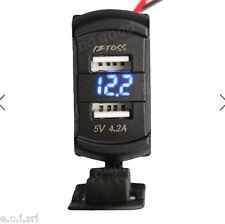 CARICABATTERIE USB 5V 4,2A ALIM. 12V 24V PER AUTO MOTO + VOLTOMETRO LED