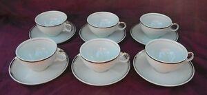 Vintage Set 6 Universal Ballerina Mist Cup & Saucers Blue Platinum Trim