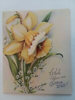UNUSED Vtg DAFFODIL Pretty Petals Fold Out Dimensional Get Well GREETING CARD