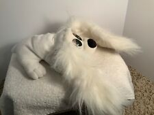"VINTAGE Pound Puppy 1995 White Long Fluffy Ears Big Eyes 10.5""  Galoob"