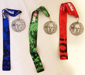 2017 Spartan Race Sprint Beast & Super Medals Lot Of 3 W/ Lanyards Exc Cond