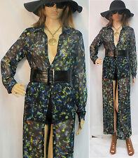 VINTAGE 70'S 80'S SHEER WATERCOLOR MAXI SHIRT DRESS S