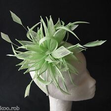 Lime Green Sinamay and Feather Fascinator For Races, Proms , Weddings