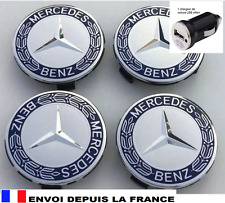 4 logo MERCEDES caches moyeu , centres de roue chrome et bleu 75 mm emblème neuf