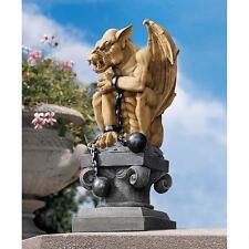 """15"""" Gothic Castle Dungeon Prisoner Chained Pedestal Perch Gargoyle Sculpture"""