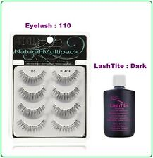 4 PAIRS ARDELL NATURAL MULTIPACK 110 BLACK + LashTite DARK ADHESIVE 0.75oz