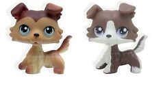 2pcs #58 #no Rare Littlest Pet Shop Gray Brown Collie Dog Puppy Blue Eyes LPS