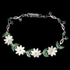 Sterling Silver 925 Natural Emerald Gem & Mother of Pearl Flower Bracelet 7 Inch
