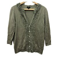 Talbots Cardigan Sweater Women's L Smokey Green Silk Blend Button Down Pleated