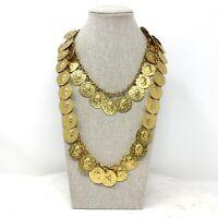Vtg Greek Roman Coin Double Strand Necklace Mid Century Retro Gold Tone Estate