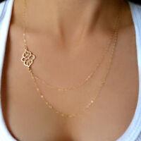 Dainty Gold Filigree Charm Necklace Side Layered Choker STUNNING Minimal Simple
