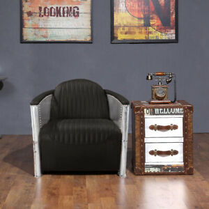 Vintage Aviator Aviation Pilot Sofa Chair Black 1 Seater 100% Real Leather Black
