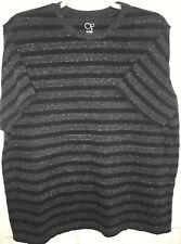 OP Mens T shirt Black Gray Stripe short sleeve size xl Pullover