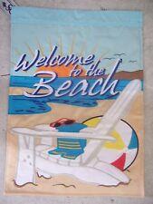 Welcome to Beach Ocean Beachball Nylon Summer Double Sided Garden Flag 13 x 18