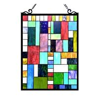 Stained Glass Chloe Lighting Victorian Window Panel 18 X 24 Inches Handcrafted