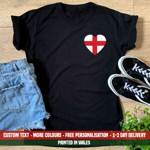 Ladies England Pocket Heart T Shirt Love Flag English Football London Gift Top