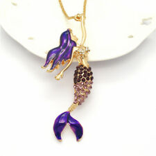 New Betsey Johnson Shiny Mixed Crystal Purple Enamel Mermaid Pendant Necklace