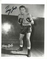 BOXING LEGEND TONY ZALE SIGNED 8X10 HOF MAN OF STEEL MIDDLEWEIGHT CHAMPION 67-18