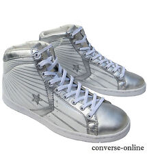 Women CONVERSE All Star WHITE SILVER LADY PRO LEATHER HI Trainers Boot SIZE UK 5